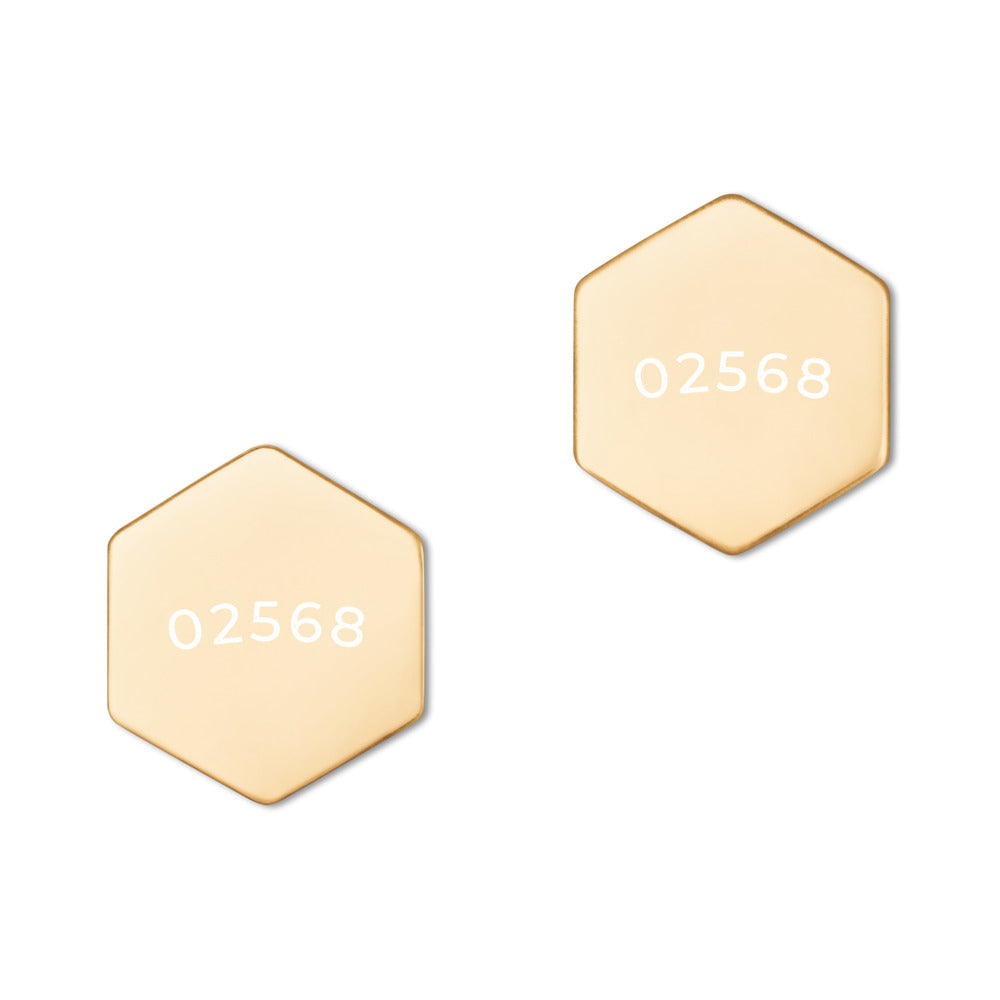 02568 Engraved  18K Rose Gold, 24K Gold Coated Sterling Silver, Hexagon Stud Earrings