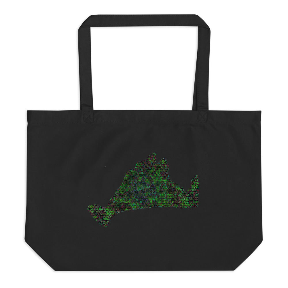 Large Organic Tote Bag-Kaleidoscope Green