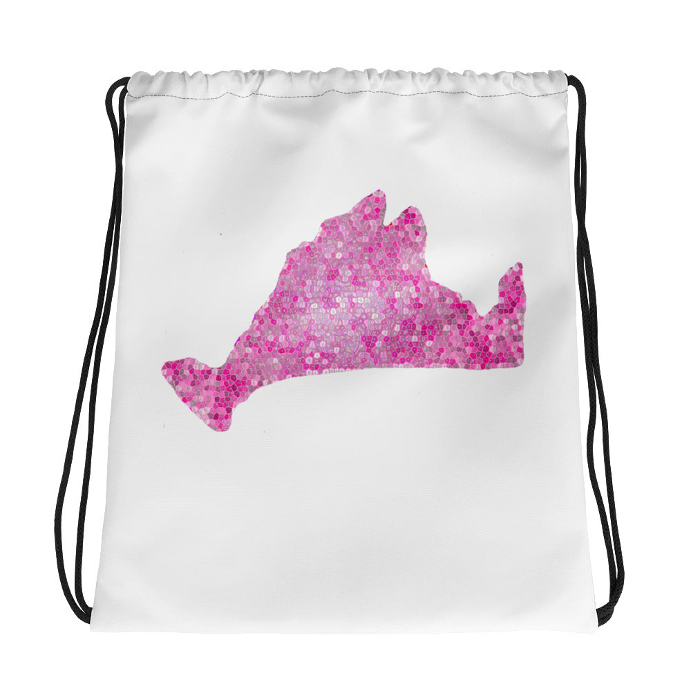 Drawstring bag-Pink Pixels
