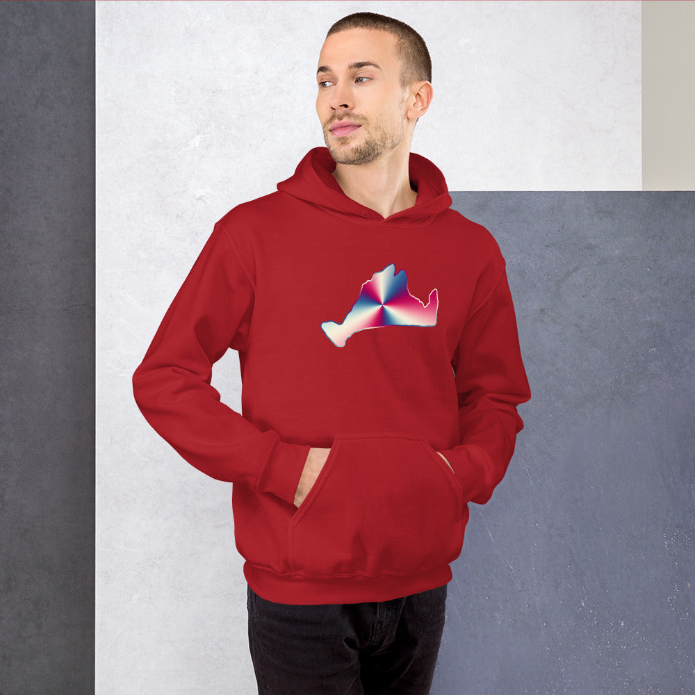 Hoodie Sweatshirt-Red, White & Blue