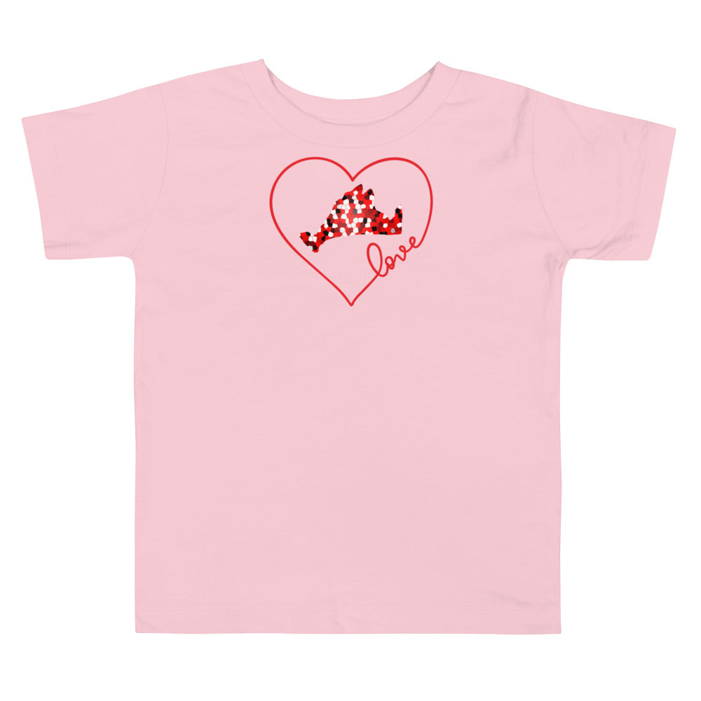Love Red Pixels Toddler Short Sleeve Tee