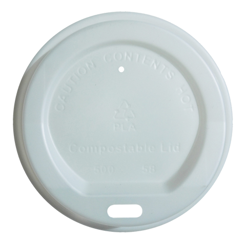 Vegware Compostable Takeaway White Sip Through Lids 8oz  x 1000 (4438141075544)