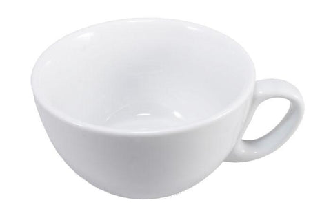 White Ceramic ROUND CUP 9OZ - ROUND HANDLE (4438163619928)