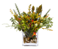 Flowers: Assorted Tropical in 4-in. Glass Cube Waterlike