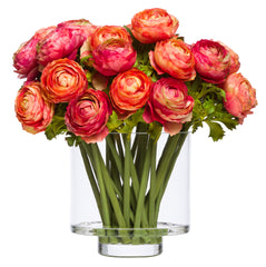 Flowers: Orange, Pink & Red Ranunculus