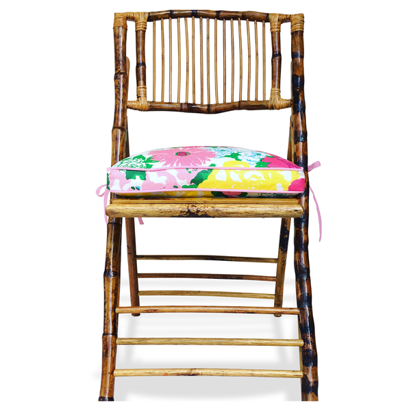 Lilly cushion on bamboo chair