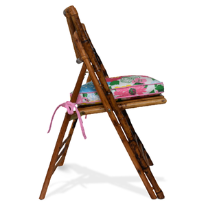bamboo chair with lilly cushion