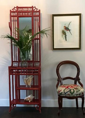 asian inspired hall stand with fine art print and chair and faux palm leaves