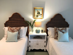 alhambra woven wood twin headboards with throw pillows
