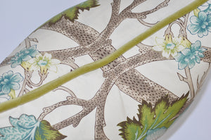 Detail of Custom Down Feather Pillow Floral Print Aqua Olive Velvet Trim