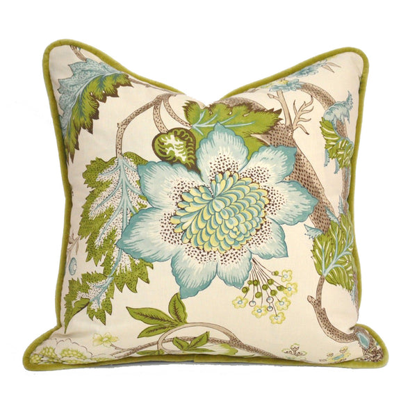 Custom Down Feather Pillow Floral Print Aqua Olive Velvet Trim
