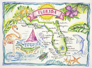 fine art print of florida in watercolor