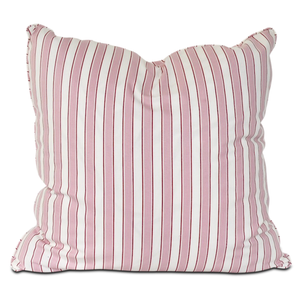 pink and white striped throw pillow