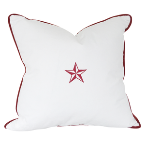White with Red Star Throw Pillow