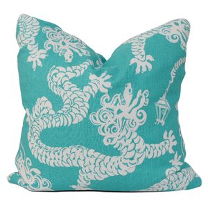 Lilly Pulitzer Pillow Turquoise with White Dragons throw pillow