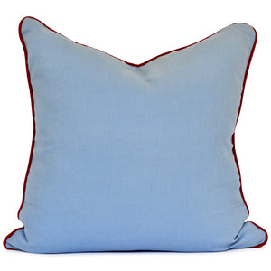 throw pillow blue linen with red trim