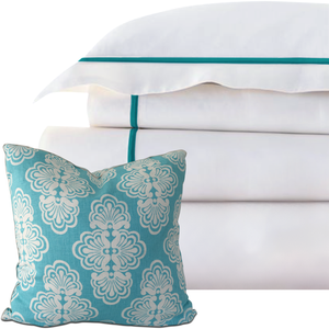 Promo: Bed Linen Set Caribbean Blue (2) with FREE Pillow