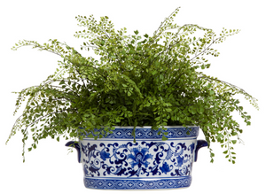 faux maiden hair fern in ceramic pot