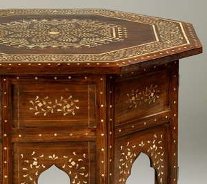detail of ivory inlaid on octagonal star table