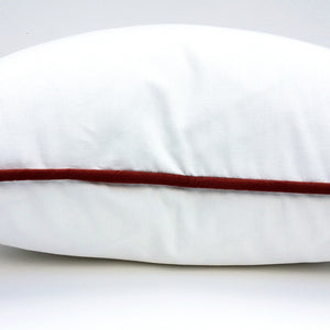 White with Red Trim Throw Pillow