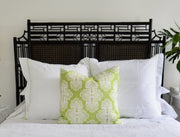 asian inspired headboard with throw green throw pillow with bed linens