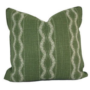 green throw pillow in zanzibar fabric