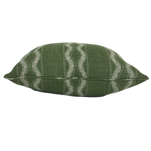 throw pillow in green zanzibar fabric by peter dunham