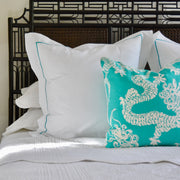 throw pillow on bed with luxury bed linen set and heaboard