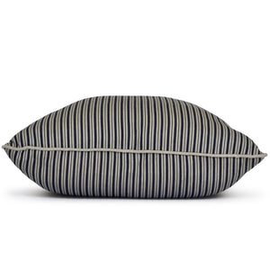 navy and taupe ticking stripe throw pillow
