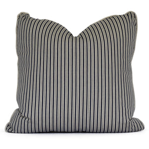 throw pillow with navy and taupe ticking stripe