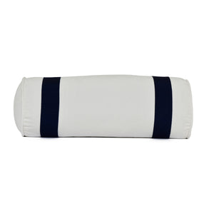 navy trim on white bolster pillow