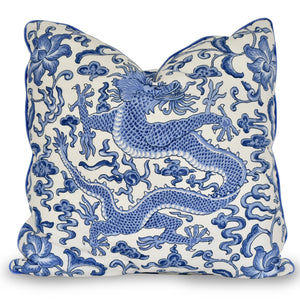 throw pillow with blue dragon
