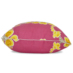 pink paisley pattern on throw pillow