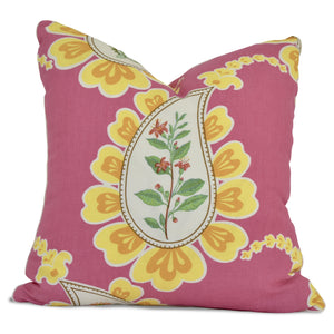 throw pillow with pink paisley pattern