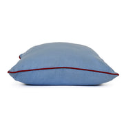 blue linen with red trim throw pillow