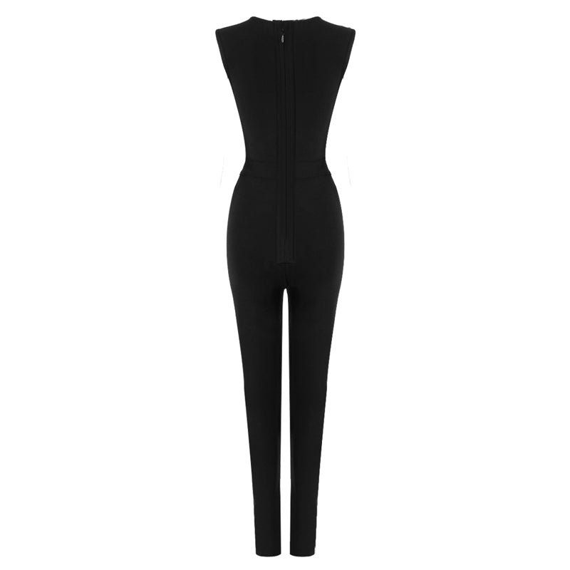 Black Lace Up Bandage Jumpsuit