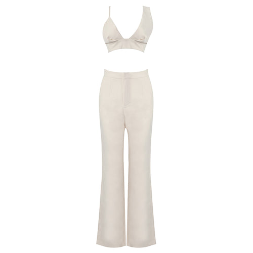 Nude 2 Piece Pants Suit