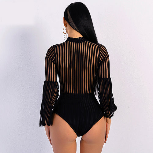 Black Striped Bodysuit