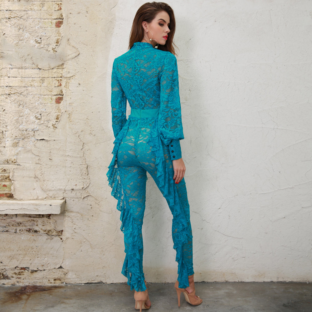 Blue Ruffle Lace Jumpsuit