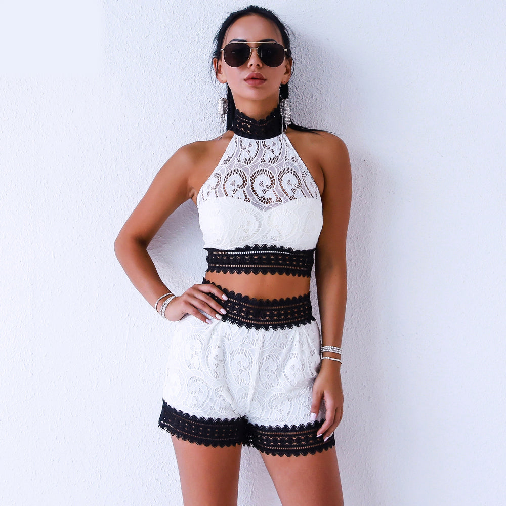Black and White Lace 2 Piece Set
