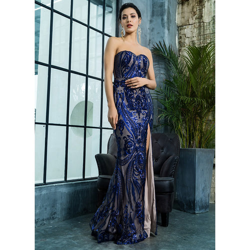 'Yasin' Royal Blue Maxi Dress