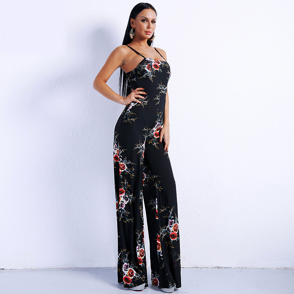 Black Rose Floral Jumpsuit