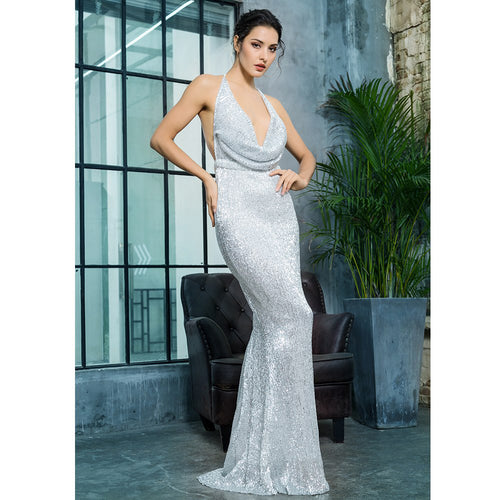 'Suzanna' Silver Maxi Dress
