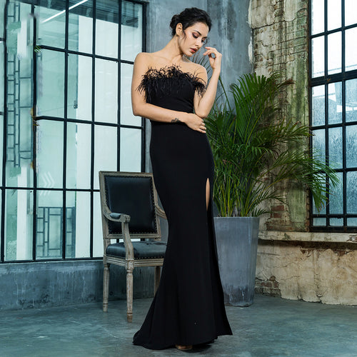 Feather Black Maxi Dress