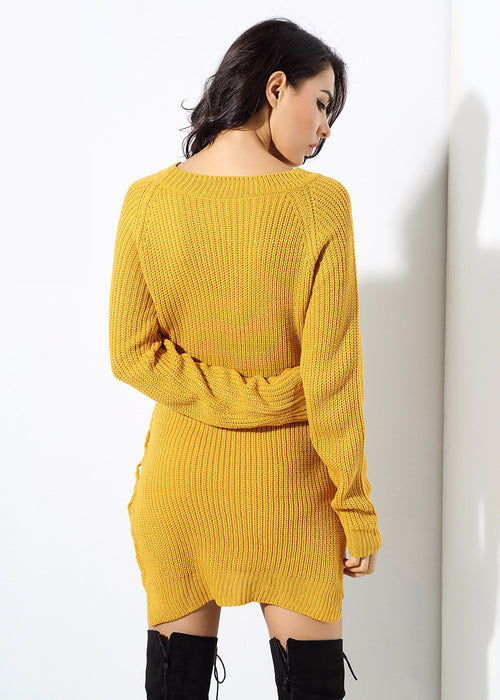 Yellow Lace Up Sweater