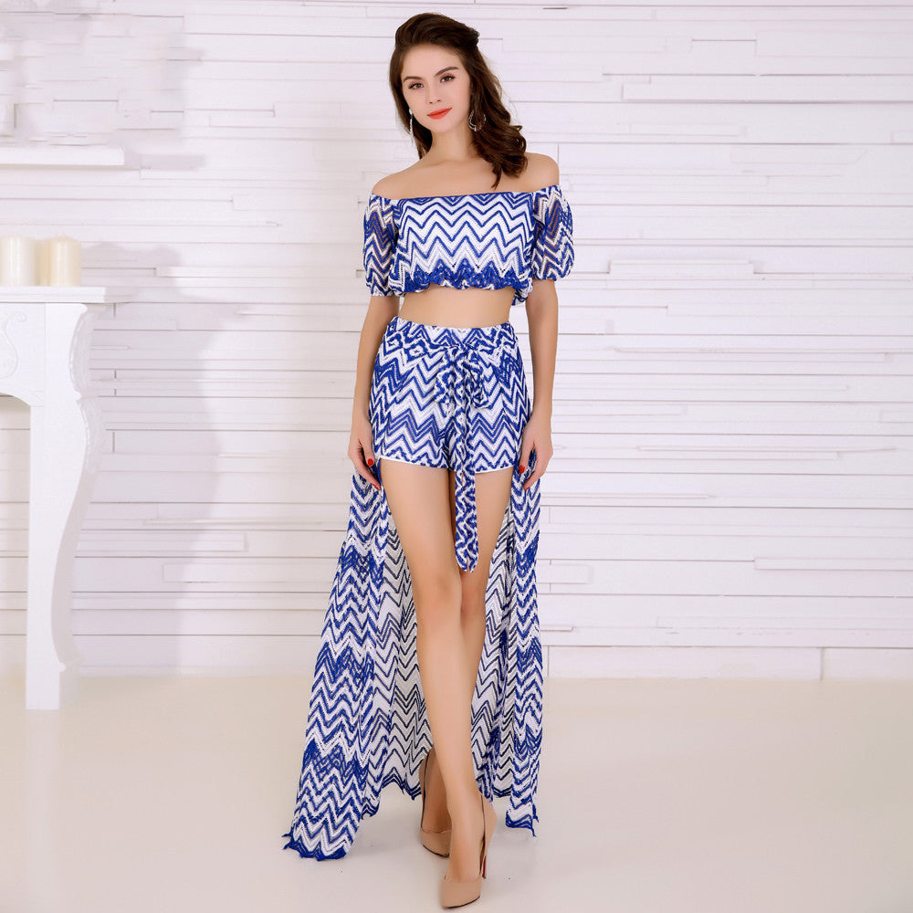 Blue and White Geometric Design 2 Piece Set