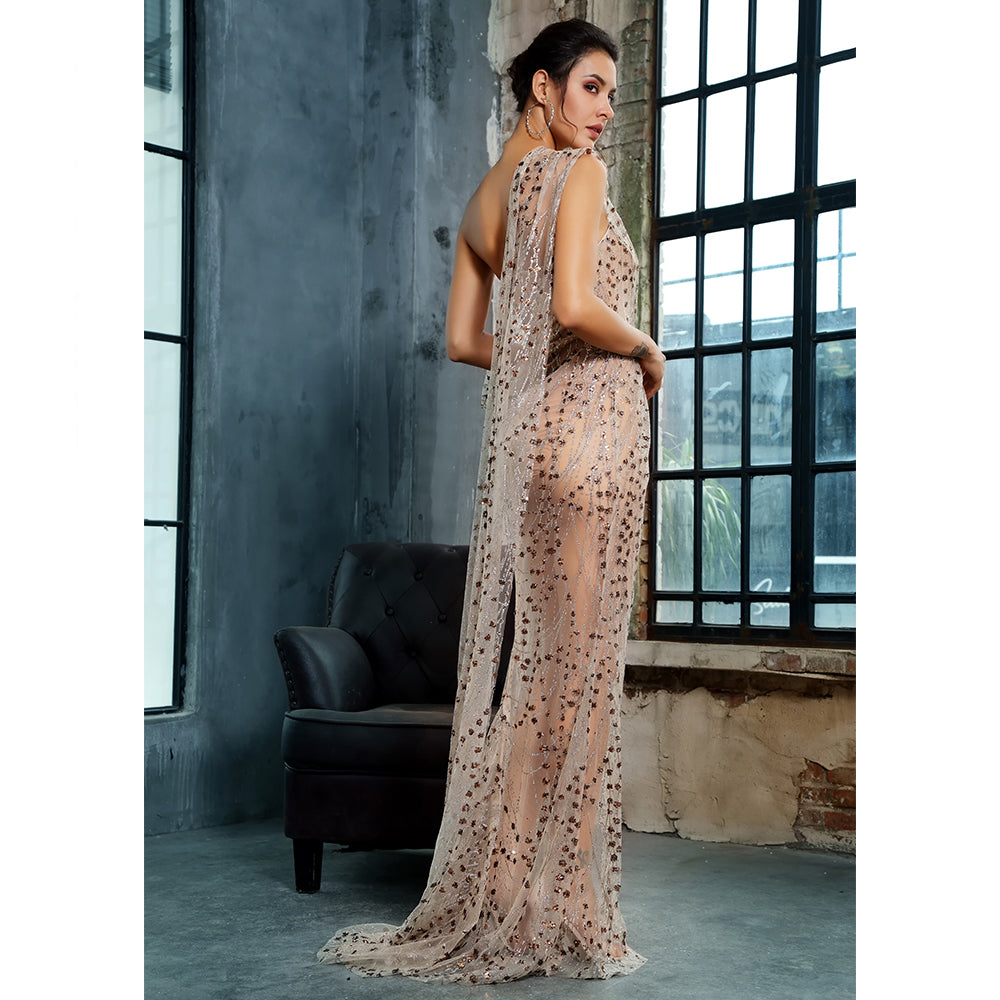 'Aregan' Gold Maxi Dress
