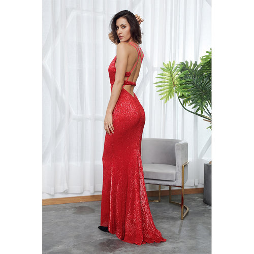 'Lidia' Red Maxi Dress