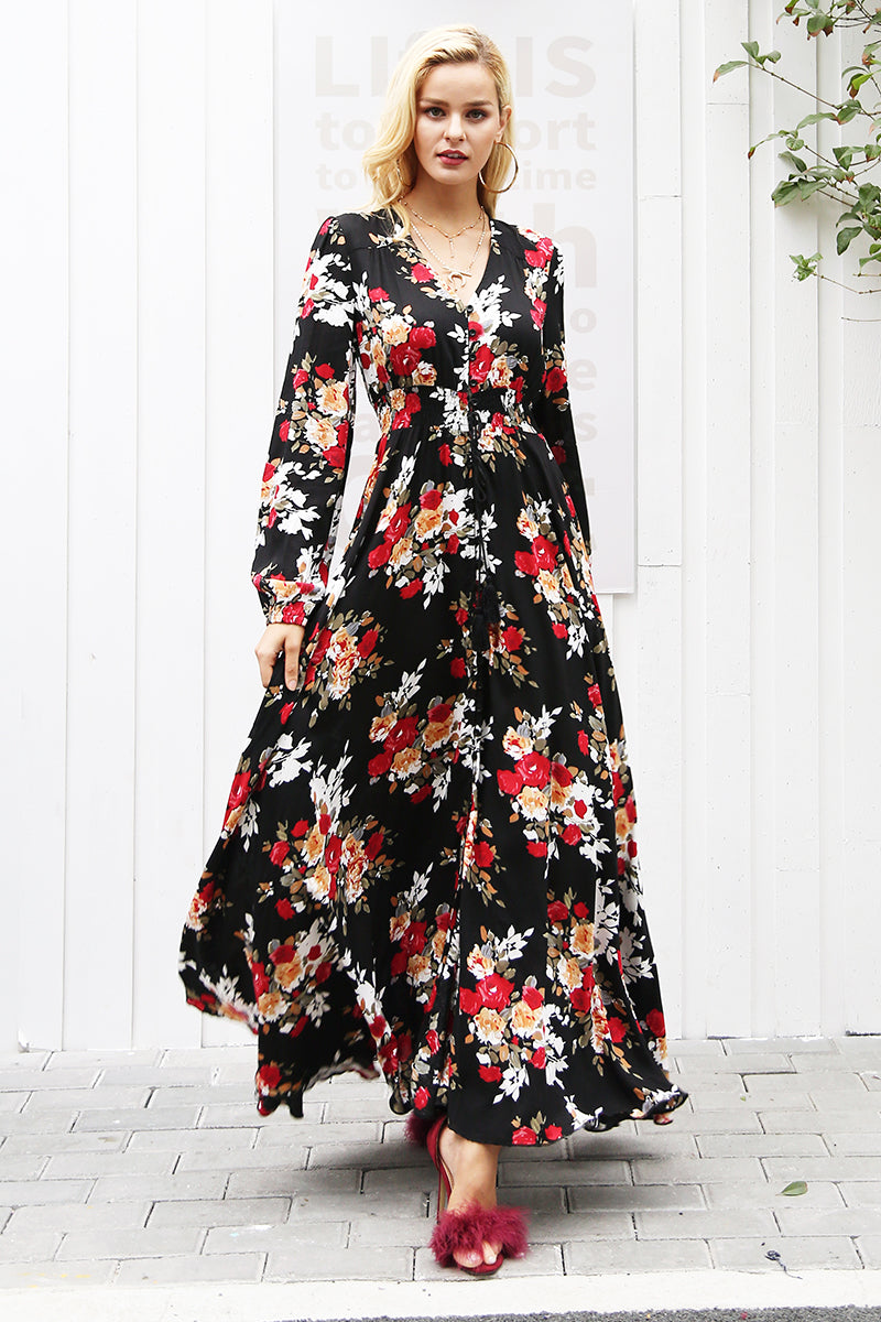 Black and Red Floral Maxi Duo