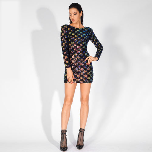 Checker Long Sleeve Sequins Dress